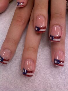 of July nails Independence day nails freedom nails flag nails American flag nails Fancy Nails, Love Nails, Red Nails, How To Do Nails, Pretty Nails, White Tip Nails, Pastel Nails, Bling Nails, Manicure E Pedicure