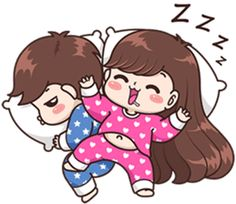 Tulog na tayo, Sweetheart! Cute Chibi Couple, Love Cartoon Couple, Cute Couple Comics, Cute Couple Art, Anime Love Couple, Cute Love Stories, Cute Love Pictures, Cute Cartoon Pictures, Cute Love Gif