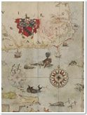 Map of the E coast of N America: Chesapeake bay to the Florida Keys; with arms of Sir Walter Raleigh, English vessels, dolphins, fish, whales and sea-monsters by John White, governor of Roanoke Colony. 1585-1593. Image courtesy of the British Museum.