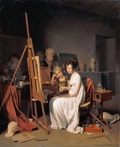 Studio of a Lady Artist Louis-Léopold Boilly (Neoclassical, Oil on canvas. Pushkin Museum of Fine Arts. Hortense had a studio room in the Tuileries palace. Might it have looked like this? French Paintings, Fine Art, Artist Studio, Artist, Painting, Woman Painting, Artist Models, Historical Art, Canvas Art