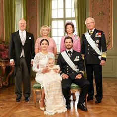 (Front L-R) Princess Sofia, her husband Prince Carl Philip with their son Prince Alexander of Sweden are joined by Carl Philip's parents, King Carl XVI Gustaf and Queen Silvia (right) as well as Sofia's parents, Marie and Erik Hellqvist