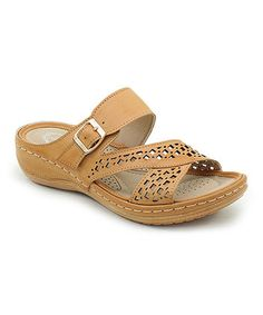 Camel Cutout Crisscross Sandal
