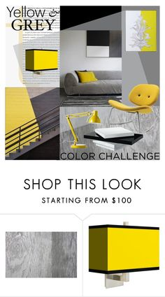 """""""Yellow and Grey Color Challenge"""" by szaboesz ❤ liked on Polyvore featuring interior, interiors, interior design, home, home decor, interior decorating, Thibaut, Damiani, Giclee Gallery and Universal Lighting and Decor"""