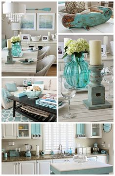 Beach Chic Aqua Accented Coastal Cottage Home Tour by Breezy Designs at foxhollowcottage.com