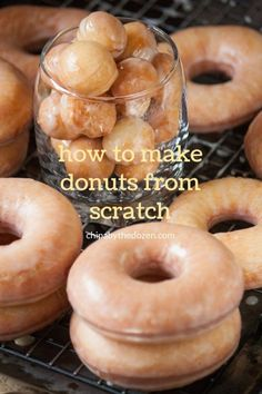How to Make Donuts from Scratch - Chipa by the Dozen. An easy, step by step recipe to make donuts from scratch. Donut Recipe From Scratch, Easy Donut Recipe, Donut Recipes, Cake Recipes, Dessert Recipes, Cooking Recipes, Desserts, Snack Recipes, Healthy Recipes