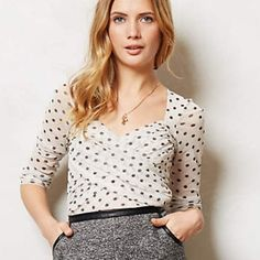 Anthropologie Sweet Pea 3/4 polka dot top. Never worn 3/4 sleeve sweetheart neckline Sweet Pea by Stacy Frati. Online exclusive! Lined so it's not see-thru but would definitely wear a nude bra. Sweet or Mad Men sexy depending on the styling! Anthropologie Tops Blouses