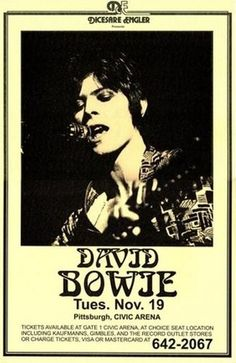 Limited David Bowie Nov 19 Concert Poster Print Rare