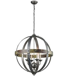 Sterling 3215-009 Modern Prometheus 4 Light 27 inch Burnt Oak With Antique And Pewter Chandelier Ceiling Light photo