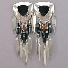 Tabra Vintage Embossed Silver and Black Onyx Post Earrings