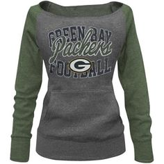 Green Bay Packers Ladies Formation Boatneck Tri-Blend Sweatshirt - Charcoal/Green