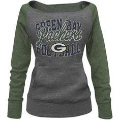 Green Bay Packers Ladies Formation Boatneck Tri-Blend Sweatshirt - Charcoal/Green