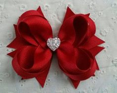 Items similar to Red Boutique Hair Bow - Girls Hair Bow - Toddler Hair Bow - Valentine Hair Bow - Holiday Hair Bow - Formal Wedding Bow with Sparkly Heart on Etsy Little Girl Hairstyles Etsy :: Your place to buy and sell all things handmade Hair pins are Diy Hair Bows, Diy Bow, Red Hair Bow, Flower Girl Headbands, Flower Headbands, Flower Girls, Wedding Bows, Formal Wedding, Christmas Hair Bows