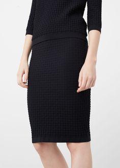 Textured pencil skirt | MANGO