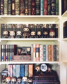 """apagewithaview: """" I never take pics of this shelf because the lighting in this room is so bad buuuut here it is anyways! """" apagewithaview: """" I never take pics of this shelf because the lighting in this room is so bad buuuut here it is anyways! Harry Potter Beasts, Objet Harry Potter, Harry Potter Light, Deco Harry Potter, Harry Potter Bedroom, Harry Potter World, Funko Pop Harry Potter, Harry Potter Pop Figures, Harry Potter Books"""
