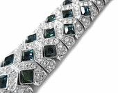 Joan Rivers Bracelet Swarovski Crystals Clear and Blue Stones For Evening, Wedding, Bridal Jewelry