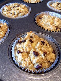 [Oatmeal Cupcakes: 3 mashed bananas (the riper the better!), 1 cup vanilla almond milk, 2 eggs, 1 tbsp baking powder, 3 cups oats, 1 tsp vanilla extract, 3 tbsp mini chocolate chips (or blueberries)]