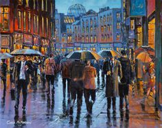 On Grafton Street by Chris McMorrow (code-257) - PRINT Grafton Street, Inspiring Art, All Over The World, Portrait, School, Artist, Projects, Painting, Inspiration
