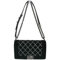 Boy velvet handbag CHANEL ❤ liked on Polyvore featuring bags, handbags, handbag purse, hand bags, velvet purse, handbags bags and velvet handbags