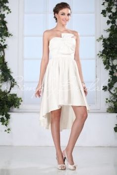 Wedding Dress by SimplyBridal. This fun dress is a modern take on a classic A-line silhouette. The high-low hem is super chic and the sweetheart neckline is universally flattering and accented by a flirty bow detail. This a great dress for all figures from petite to thin to full figure. USD $99.99
