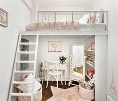 chambre jeune fille avec lit étage dans les tons :  -rose,blanc,beige