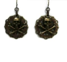 Steampunk Gothic Skull and Crossbones Earrings by pink80sgirl, $24.00