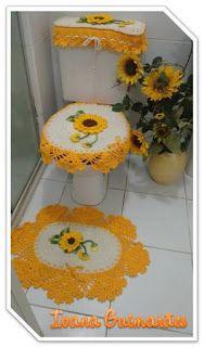 Jogo de Banheiro Girassol     Dizem que o Girassol é a flor da felicidade e como é a minha flor preferida, criei este simples jogo de...
