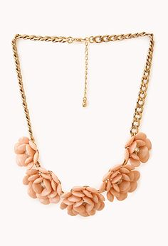 Peach coloured flower necklace from Forever 21 uk ( London )
