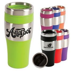 """16 oz. silver streak tumbler mug -16 oz. insulated tumbler with stainless steel exterior and BPA-Free plastic interior. Features matching color non skid bottom, PVC grip and a spill proof thumb slide plastic lid. Fits most automobile cup holders. Not microwave or dishwasher safe. 3 1/4"""" Diameter x 7"""" H"""