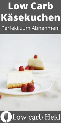 Der perfekte Snack für zwischendurch. Probier diesen Low Carb Käsekuchen! Low Carb Desserts, Held, Cereal, Cheesecake, Breakfast, Proper Tasty, Simple, Healthy Nutrition, Dessert Ideas