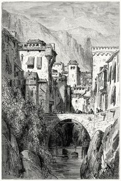 The banks of the Darro. Gustave Doré, from Le tour du monde...