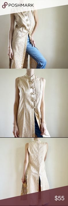 Vintage Chinese inspired sleeveless tunic duster Vintage 80s / 90s gold silky brocade Chinese inspired sleeveless tunic duster. Cheongsam style high neck. Excellent condition. Fits like size M. Vintage Tops Tunics