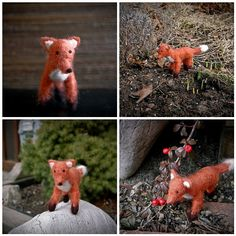 Needlefelted Fox using Woolpets needle felting kit. First attempt at  needle felting by Knitted Bliss.