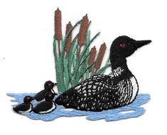 Bird - Loon W/Chicks - Divers - Duck - Embroidered Iron On Applique Patch #Unbranded