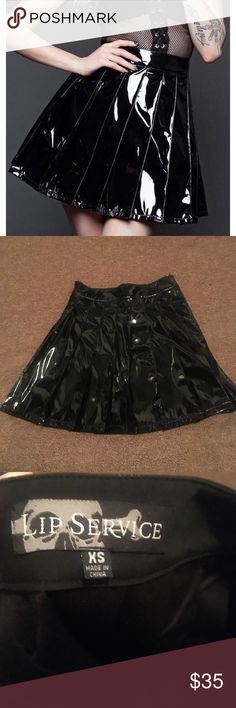 Lip service high waisted pleated vinyl skirt Never been worn only tried on a few times so it's in perfect condition! Selling because I've had it for years and never worn it. Discontinued from lip service.   Have any questions please don't hesitate to ask(: lip service Skirts