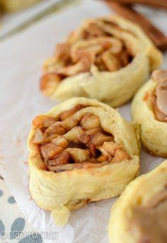 Easy Caramel Apple Cinnamon Rolls made with Crescent Rolls! | crazyforcrust.com | #apple #caramel #Fallbaking
