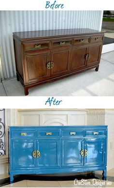 Blue Lacquer Furniture Credenza Makeover From High Gloss Lacquered Furniture Blue Lacquer Dining Table Lacquer Furniture, Blue Furniture, Refurbished Furniture, Paint Furniture, Repurposed Furniture, Furniture Projects, Furniture Makeover, Bathroom Furniture, Furniture Plans