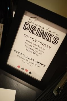 Signature drinks are a must for the casino night bar. I'm just not sure what they will be yet.