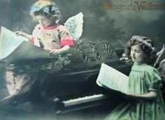 Antique angel postcard  Christmas girl wings by LizKnijnenburg