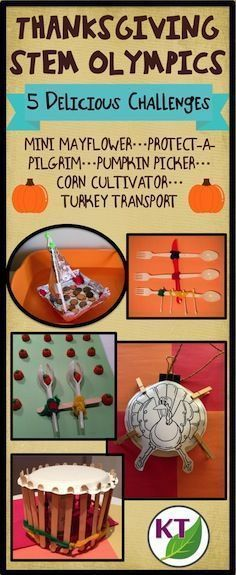 Blog post outlines 5 fun & fabulous Thanksgiving-themed STEM challenges that can be modified for use with grades 2-8. Follow the journey of the Pilgrims as they sail to America (Mini Mayflower), create shelter (Protect-a-Pilgrim), gather food (Pumpkin Pic