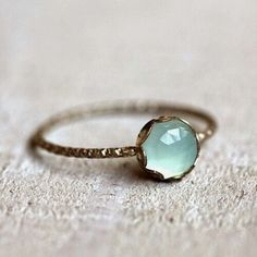 Simple and elegant aqua blue chalcedony gemstone ring. A stunning rose cut blue chalcedony gemstone sits atop a patterned sterling silver band. Blue Chalcedony, Sapphire Gemstone, Gemstone Rings, Pink Sapphire, Sapphire Rings, Aquamarine Jewelry, Opal Rings, Pandora Jewelry, Crystal Jewelry