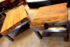 Beistelltische - DESIGN COUCHTISCH Brückenholz antik trifft Stahl - ein Designerstück von Moebel-Loft bei DaWanda