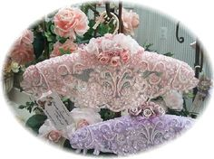 Decorative Beaded Padded Victorian Lace Satin Clothes Hanger Hangers