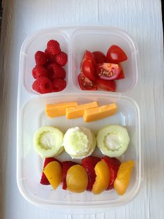 Strawberries, pluot, cucumber sandwiches with cream cheese, cheddar cheese, cherry tomatoes, raspberries. #foodforharper #bento www.facebook.com/FoodForHarper