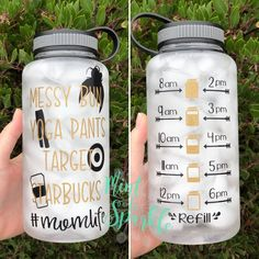 Momlife motivational water bottle with hourly tracker // messy bun // yoga pants // target // starbucks // Starbucks Water Bottle, Starbucks Cup, Water Bottle Tracker, Custom Water Bottles, Water Bottle Design, Diy Bottle, Cricut Tutorials, Cup Design, Silhouette Cameo Projects