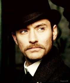 """I don't understand why people are saying that John should shave, or that he shouldn't have a moustache svaggity-svat-i-can-do-zat: """"Because, I mean Oh look the original Watson has a moustache Another. Poppy Drayton, Fantastic Beasts Movie, Holmes Movie, Guy Ritchie, Hey Jude, Jude Law, British Boys, John Watson, Why People"""