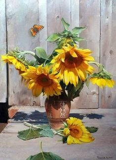 Sunflower Art, Watercolor Sunflower, Watercolor Flowers, Watercolor Paintings, Sunflowers And Daisies, Yellow Flowers, Happy Flowers, Beautiful Flowers, Arte Floral