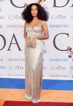 Solange Knowles in a Calvin Klein Collection silk dress and Lorraine Schwartz White diamond earrings and diamond ring at the #CFDA Awards // #CFDAAWARDS #redcarpet