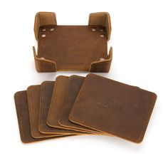 An indestructible water resistant leather coaster set that they'll fight over it when you're dead. Leather Diy Crafts, Leather Gifts, Leather Projects, Handmade Leather, Leather Tooling, Leather Wallet, Leather Tray, Saddleback Leather, Leather Coasters