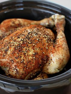 Slow Cooker Chicken ~ Delicious!  For the seasoning, I used 1 T. paprika, 2 t. crushed black pepper, 2 t. kosher salt, 1 t. garlic powder, 1 t. onion powder, 1 t. crushed coriander, 1 t. red pepper flakes, and 1 t. caraway.  The tin foil balls to hold the chicken up out of the juices really worked.  Let it rest afterwards for 20 minutes, basting occasionally. 1/20/15 - Added carrots and celery to bottom of slow cooker/stuffed inside chicken - turned out amazing!  Easy way to add veggies to…
