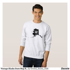 Vintage Alaska State Map AK Men's Sweatshirts - Outdoor Activity Long-Sleeve Sweatshirts By Talented Fashion & Graphic Designers - #sweatshirts #hoodies #mensfashion #apparel #shopping #bargain #sale #outfit #stylish #cool #graphicdesign #trendy #fashion #design #fashiondesign #designer #fashiondesigner #style